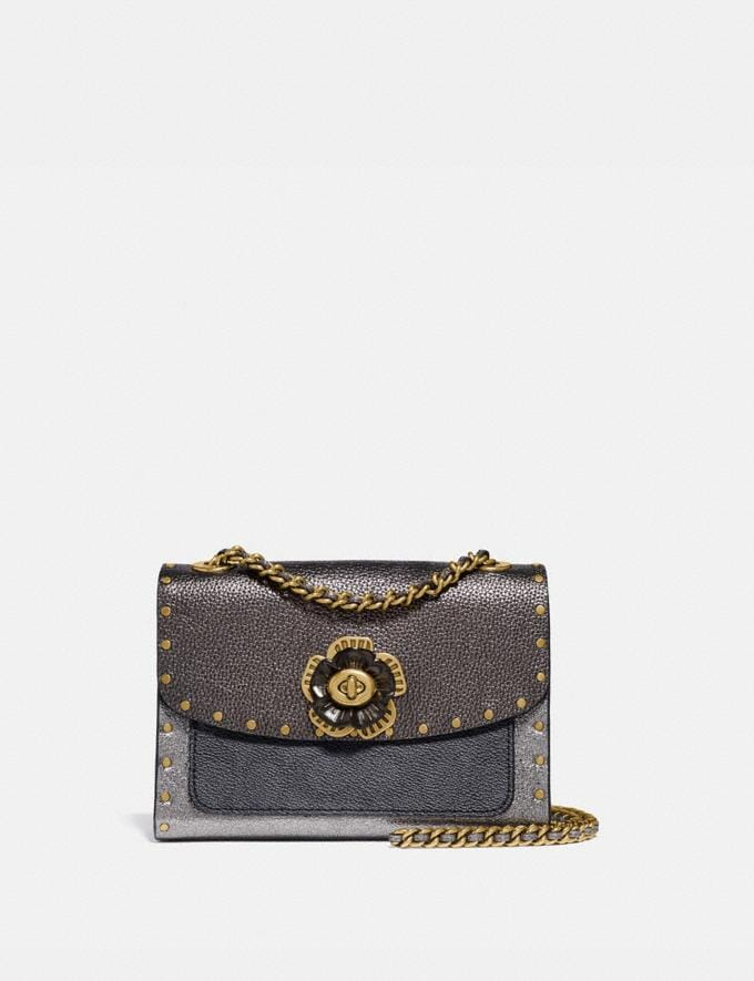 Coach Parker 18 in Signature Canvas With Rivets and Snakeskin Detail Charcoal/Metallic Graphite/Brass Women Handbags Crossbody Bags