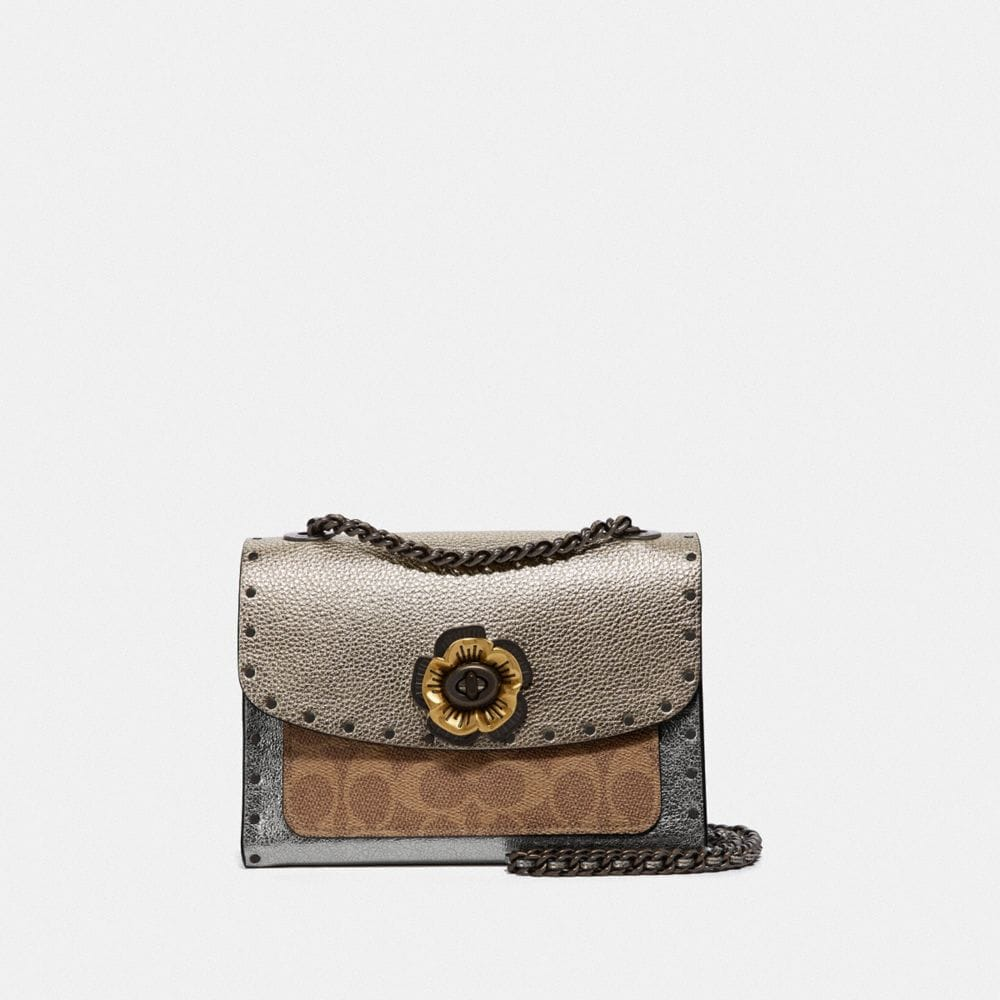 Coach Parker 18 in Signature Canvas With Rivets and Snakeskin Detail