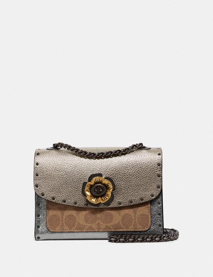 Coach Parker 18 in Signature Canvas With Rivets and Snakeskin Detail Tan/Platinum/Pewter Gifts For Her Bestsellers