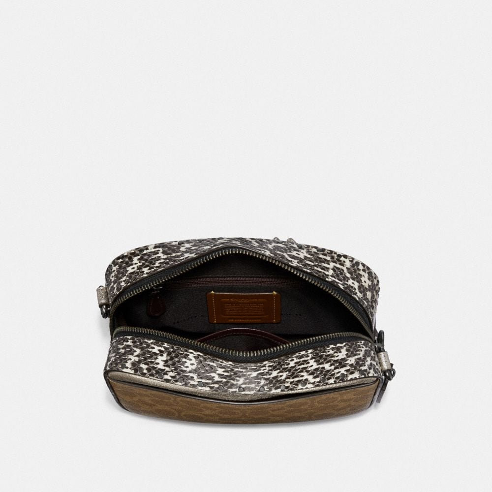Coach Camera Bag in Signature Canvas With Rivets and Snakeskin Detail Alternate View 2