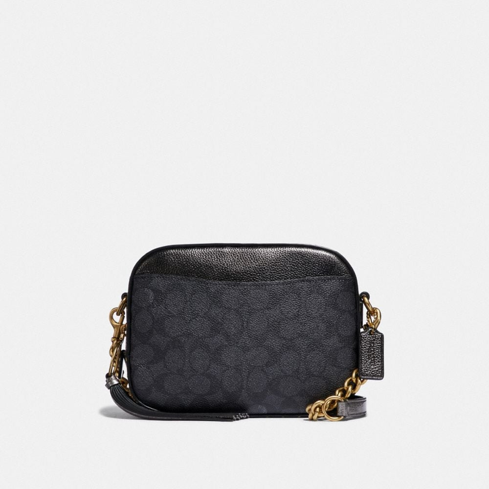 Coach Camera Bag in Signature Canvas With Rivets and Snakeskin Detail