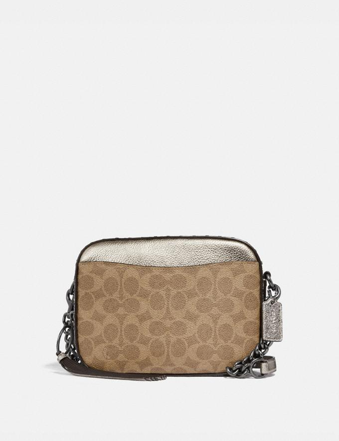Coach Camera Bag in Signature Canvas With Rivets and Snakeskin Detail Tan/Platinum/Pewter