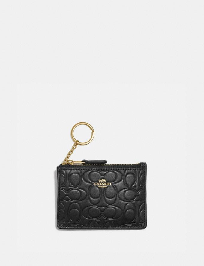 Coach Mini Skinny Id Case in Signature Leather Gd/Black Women Small Leather Goods Small Wallets