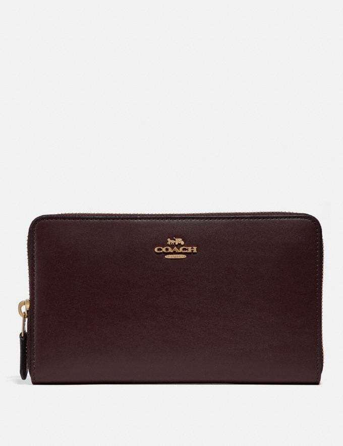 Coach Continental Wallet Oxblood/Gold New Featured Online Exclusives