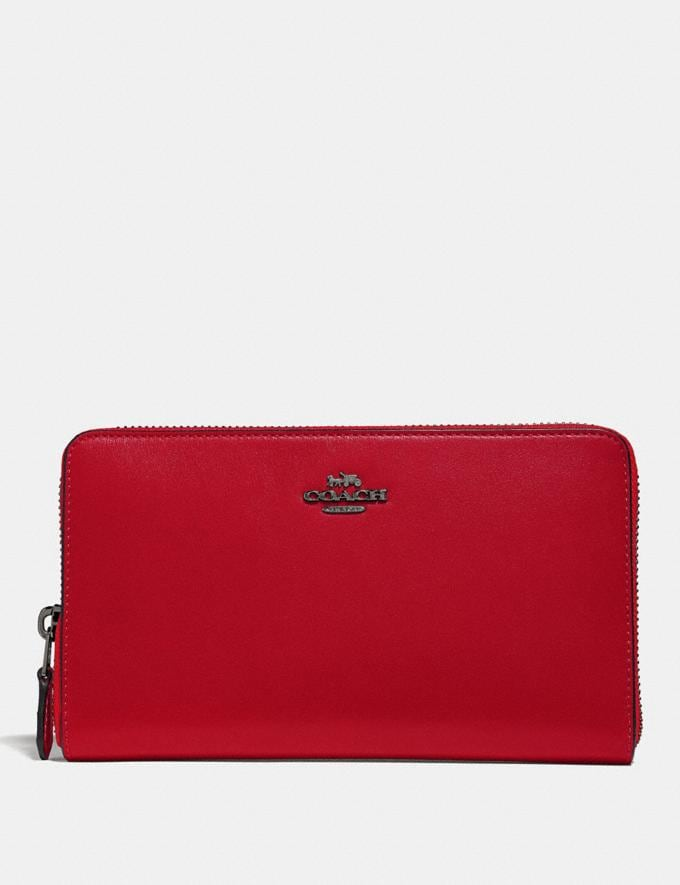Coach Continental Wallet Gunmetal/Red Apple New Featured Online Exclusives
