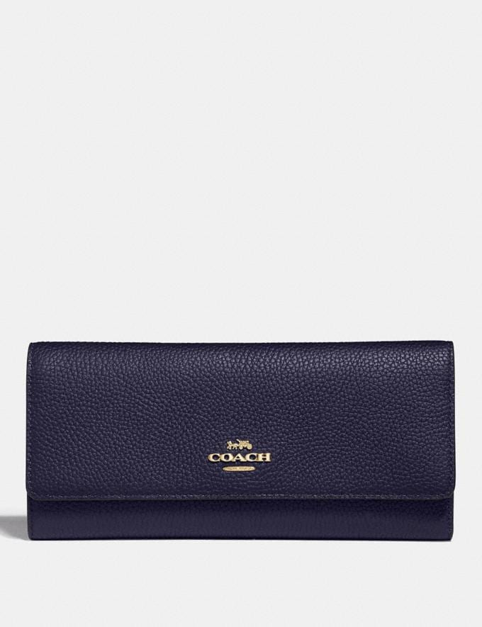 Coach Soft Trifold Wallet Cadet/Gold Gifts For Her