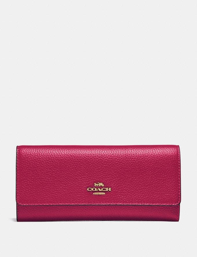 Coach Soft Trifold Wallet Bright Cherry/Gold New Women's New Arrivals Wallets & Wristlets