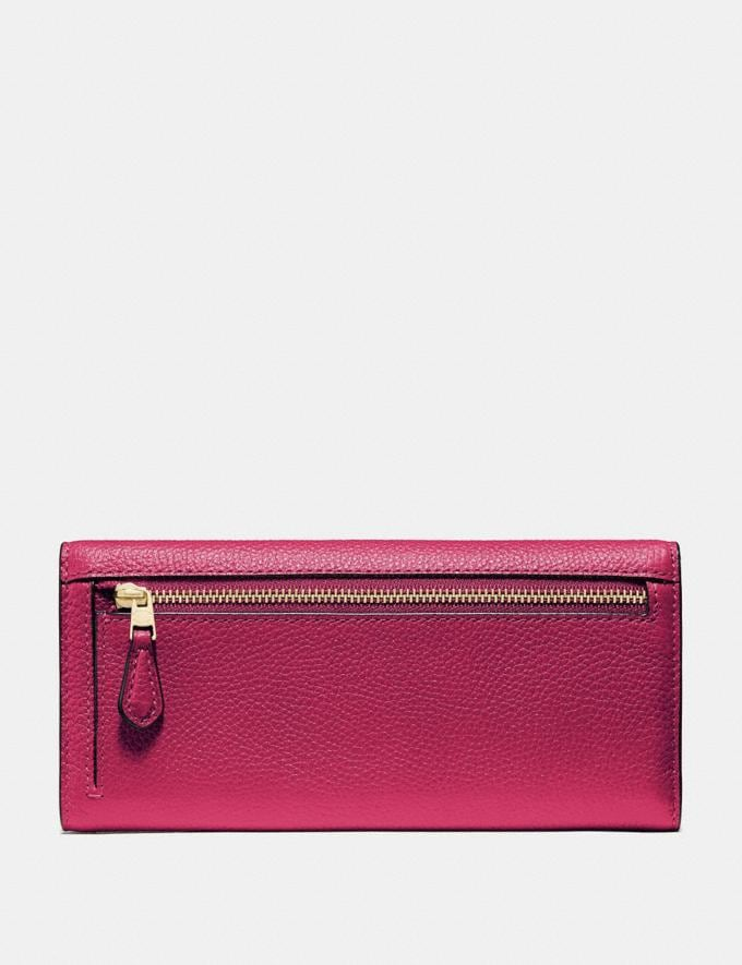 Coach Soft Trifold Wallet Bright Cherry/Gold New Women's New Arrivals Wallets & Wristlets Alternate View 1