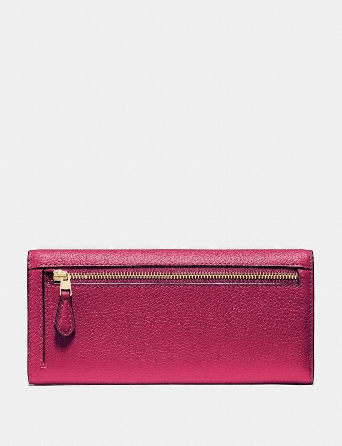 Coach Soft Trifold Wallet Bright Cherry/Gold Women Wallets & Wristlets Large Wallets Alternate View 1