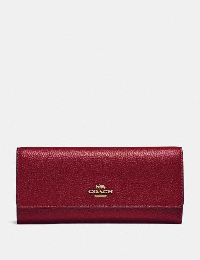 Coach Soft Trifold Wallet Gold/Deep Red