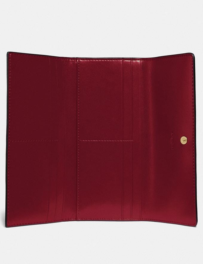 Coach Soft Trifold Wallet Gold/Deep Red  Alternate View 2