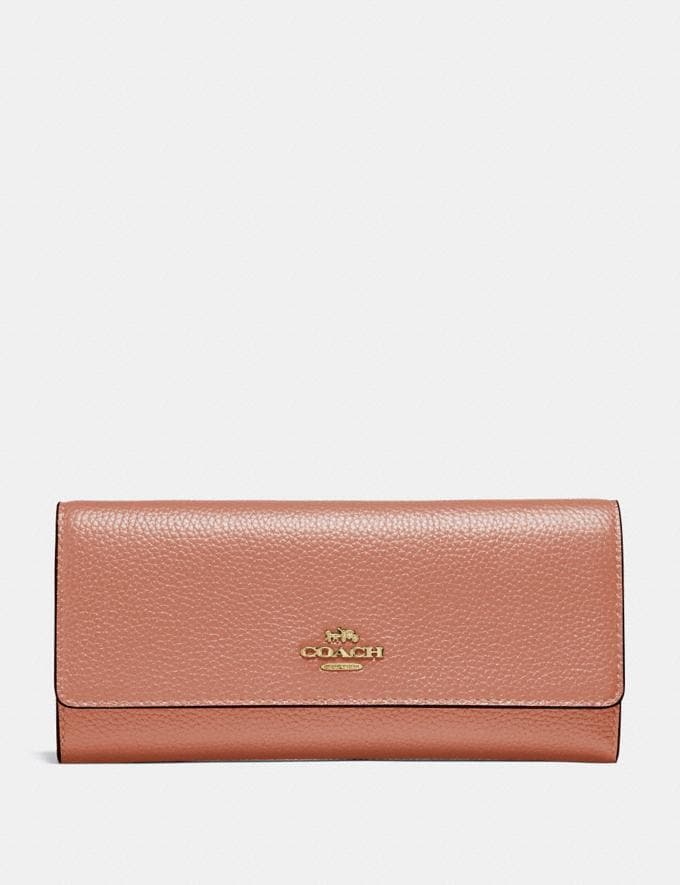Coach Soft Trifold Wallet Light Peach/Gold Gifts For Her
