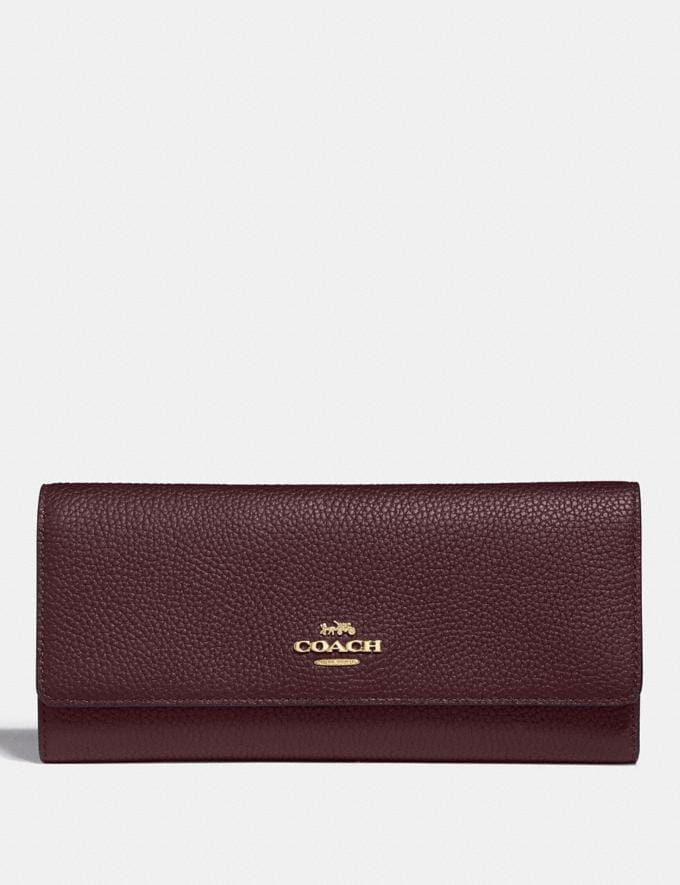 Coach Soft Trifold Wallet Oxblood/Gold New Women's New Arrivals Wallets & Wristlets