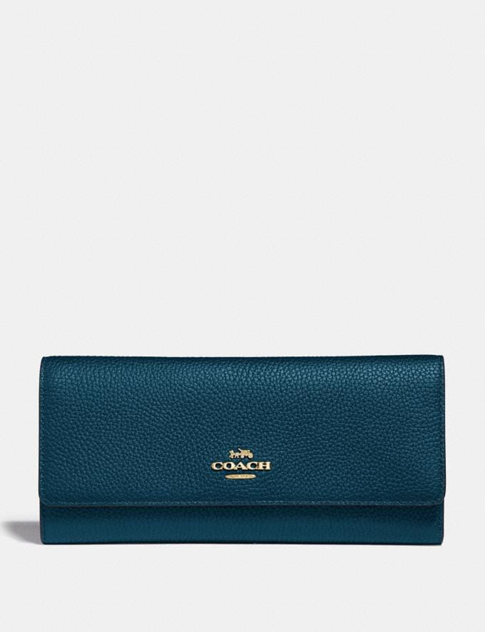 Coach Soft Trifold Wallet Peacock/Gold New Women's New Arrivals Wallets & Wristlets