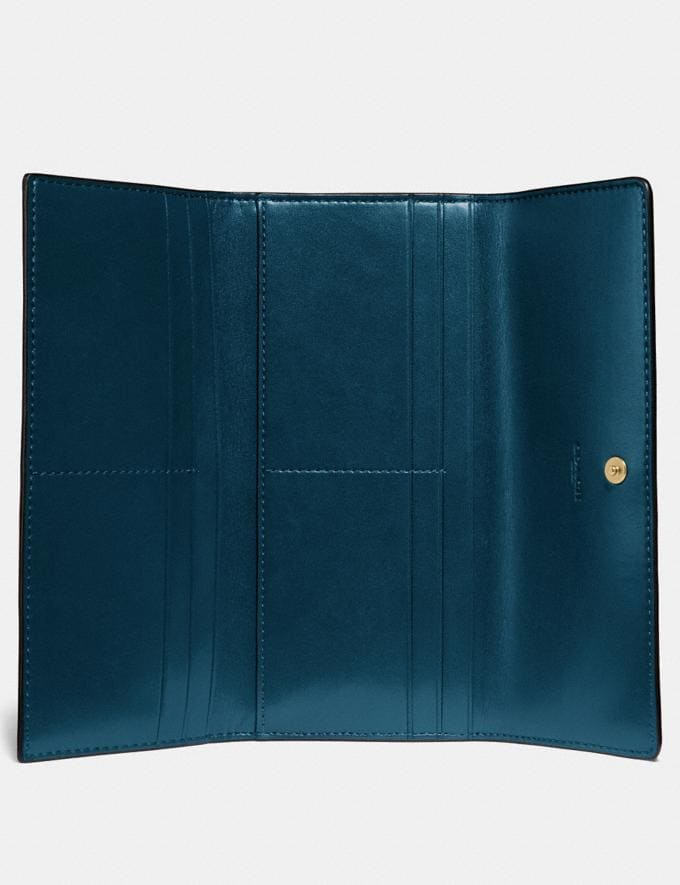 Coach Soft Trifold Wallet Peacock/Gold New Women's New Arrivals Wallets & Wristlets Alternate View 1