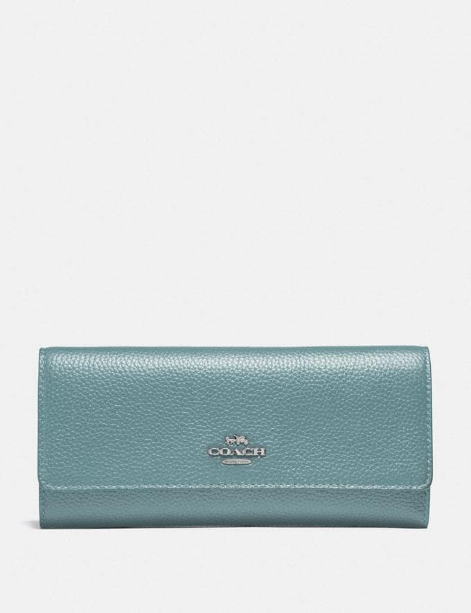 Coach Soft Trifold Wallet Sage/Silver New Women's New Arrivals Wallets & Wristlets