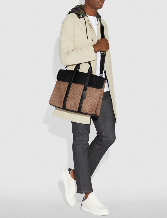 Coach Metropolitan Portfolio in Signature Canvas Khaki/Black Copper Men Edits Work Alternate View 3