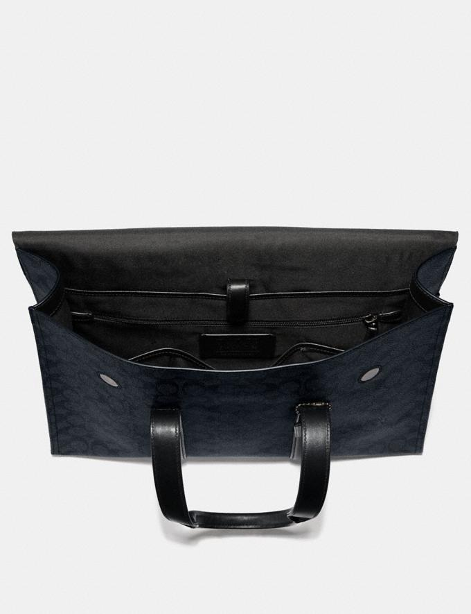 Coach Metropolitan Portfolio in Signature Canvas Midnight Navy/Black Antique Nickel Men Bags Alternate View 2