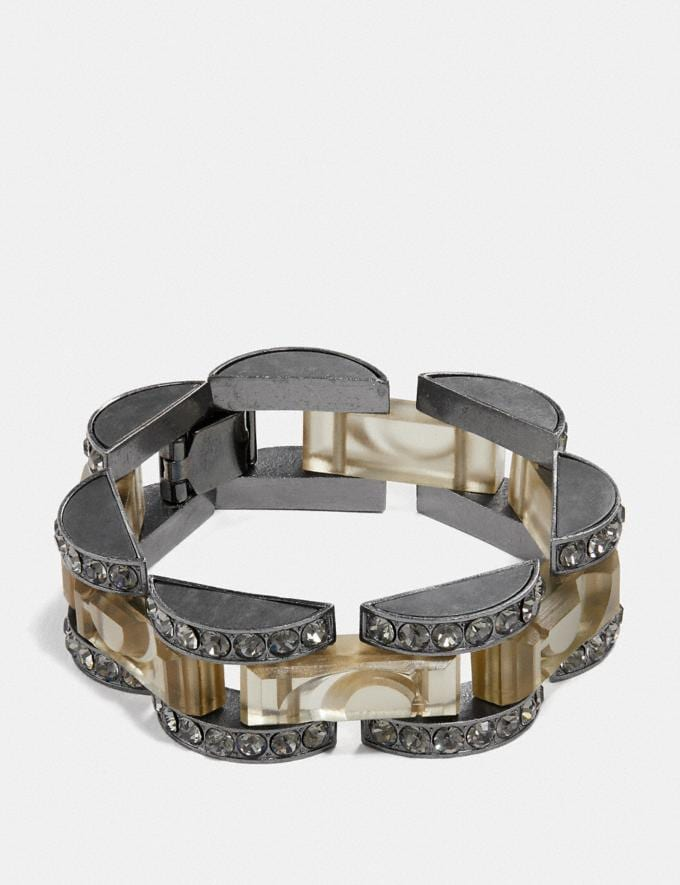 Coach Cut Glass Link Bracelet Black/Black SALEDDD Women's Sale Jewellery and Watches