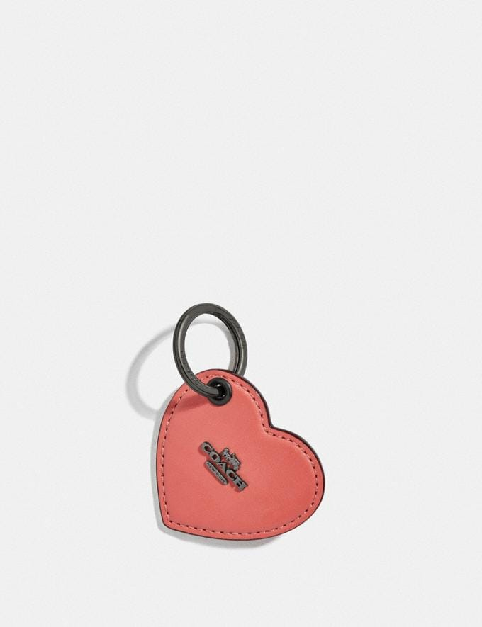 Coach Heart Tab Key Ring Bright Coral/Dark Gunmetal Gifts For Her Valentine's Gifts