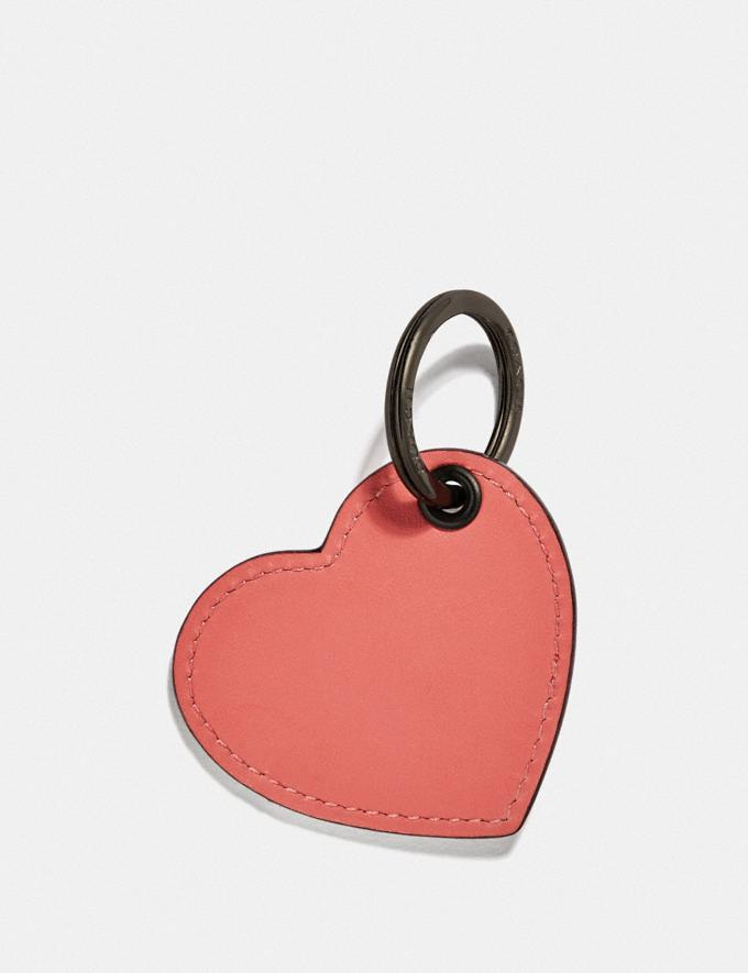 Coach Heart Tab Key Ring Bright Coral/Dark Gunmetal Gifts For Her Valentine's Gifts Alternate View 1