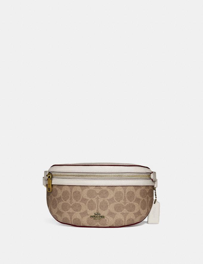 Coach Belt Bag in Signature Canvas Brass/Tan Chalk Women Handbags Belt Bags