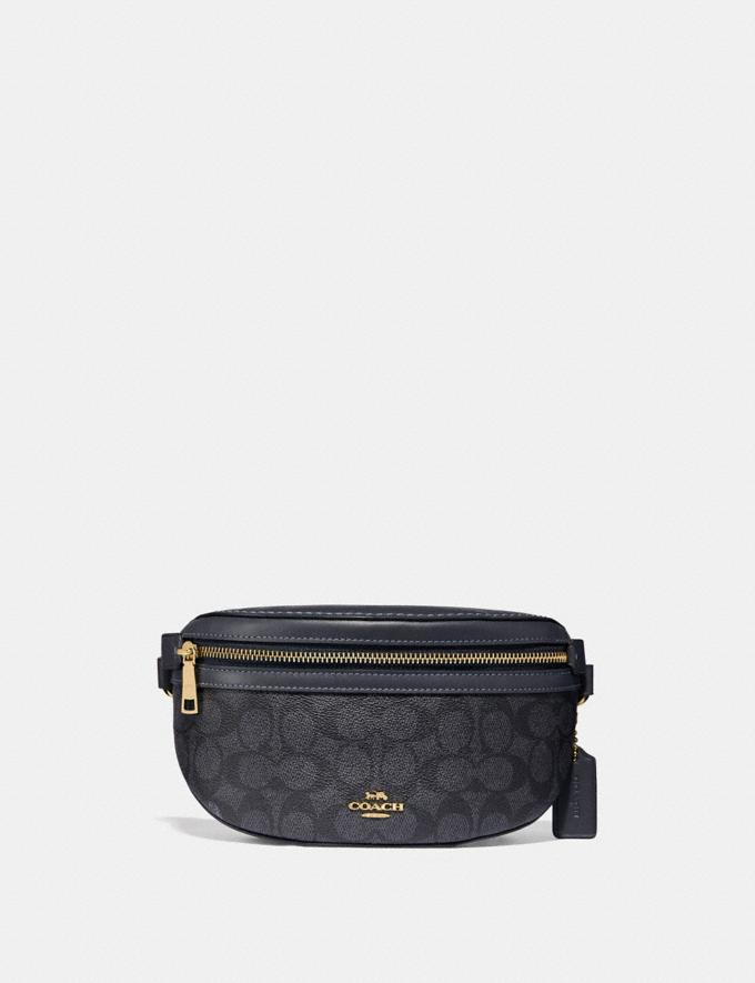 Coach Belt Bag in Signature Canvas Charcoal/Midnight Navy/Gold Women Handbags Belt Bags