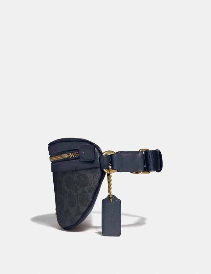 Coach Belt Bag in Signature Canvas Charcoal/Midnight Navy/Gold Women Handbags Belt Bags Alternate View 1