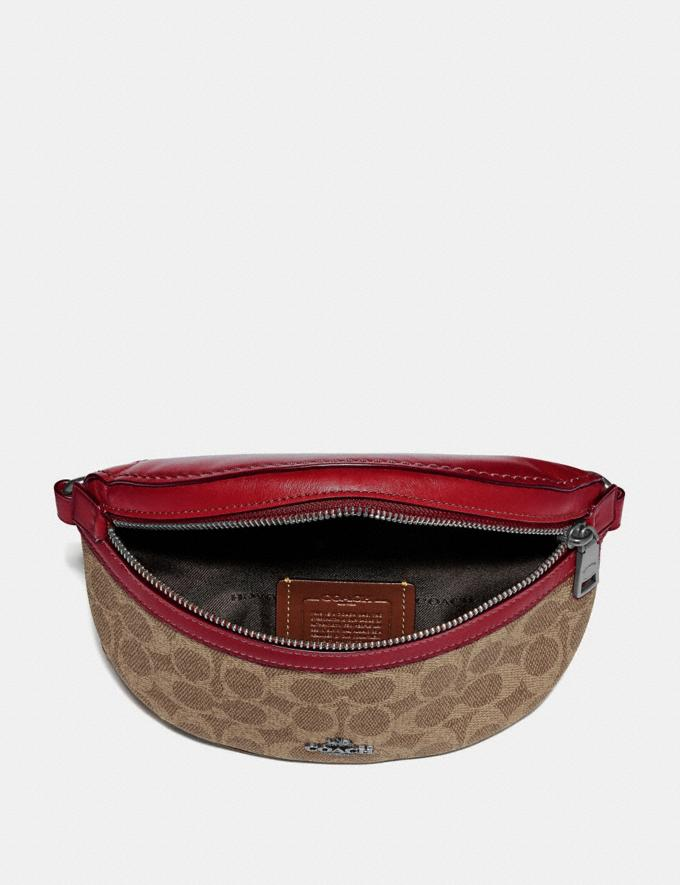 Coach Belt Bag in Signature Canvas Pewter/Tan Red Apple Women Bags Belt Bags Alternate View 2