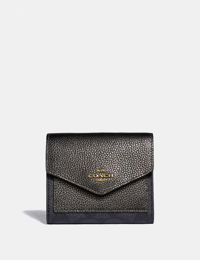 Coach Small Wallet in Colorblock Signature Canvas Charcoal/Metallic Graphite/Brass Women Small Leather Goods Small Wallets
