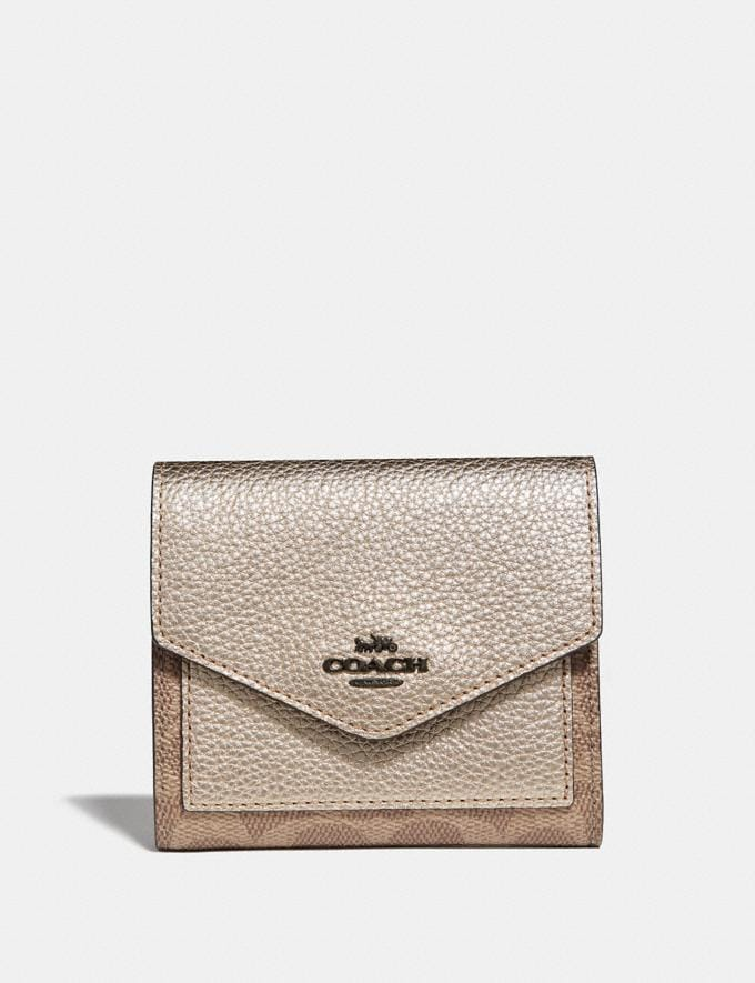 Coach Small Wallet in Colorblock Signature Canvas Tan/Platinum/Pewter Women Small Leather Goods Small Wallets