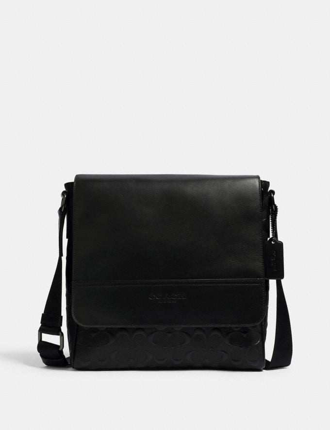Coach Houston Map Bag in Signature Leather Qb/Black DEFAULT_CATEGORY