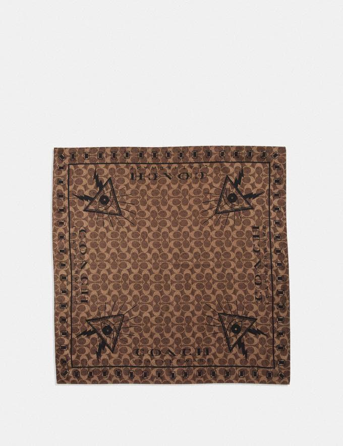 Coach Signature Pyramid Eye Silk Bandana Khaki/Black Women Accessories Hats Scarves and Gloves