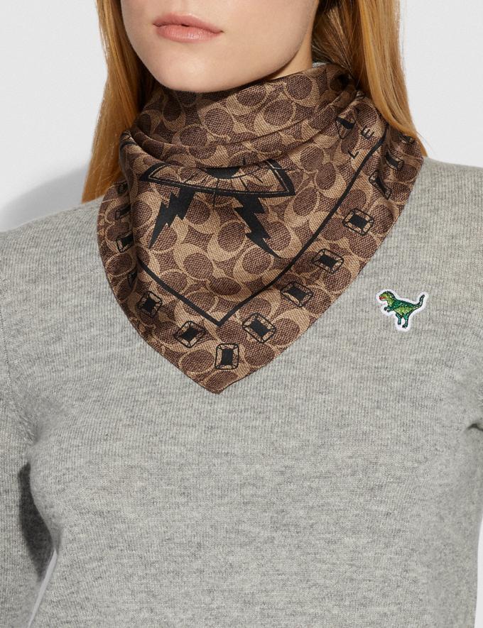 Coach Signature Pyramid Eye Silk Bandana Khaki/Black Women Accessories Hats Scarves and Gloves Alternate View 1