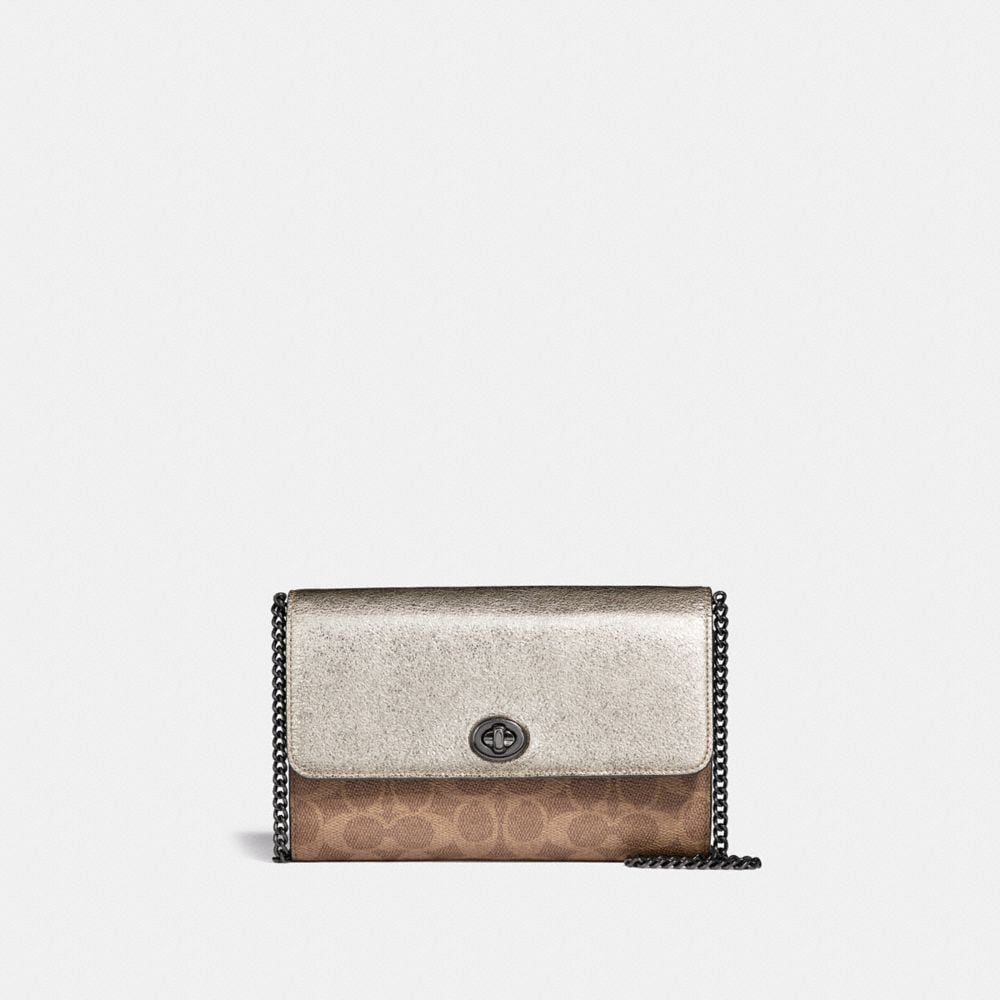 marlow turnlock chain crossbody in colorblock signature canvas