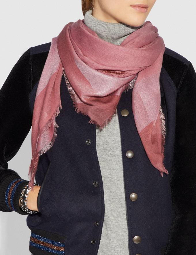 Coach Metallic Windowpane Challis True Pink Women Accessories Scarves and Gloves Alternate View 1