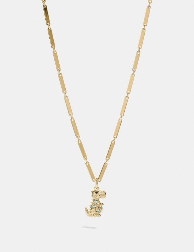 Coach Rexy Necklace Multi/Gold Women Accessories Jewelry Necklaces