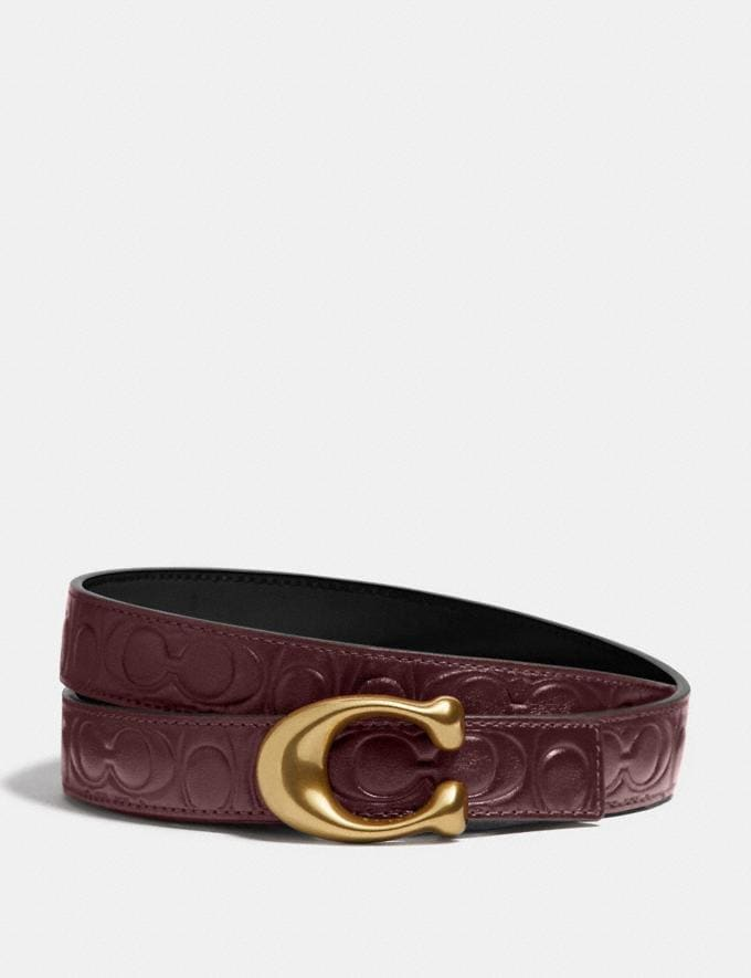 Coach Sculpted Signature Reversible Belt in Signature Leather Wine/Black/Brass Women Accessories Belts