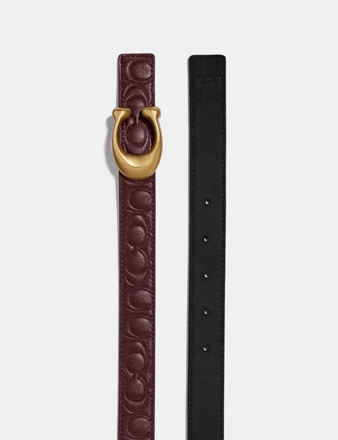 Coach Sculpted Signature Reversible Belt in Signature Leather Wine/Black/Brass Women Accessories Belts Alternate View 1