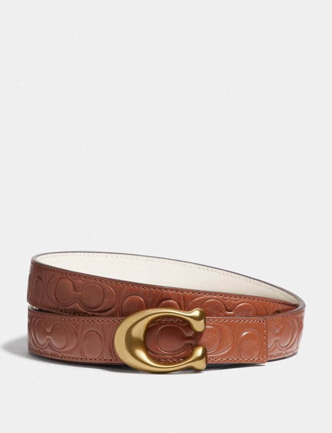 Coach Sculpted Signature Reversible Belt in Signature Leather 1941 Saddle/Chalk/Brass Women Accessories Belts
