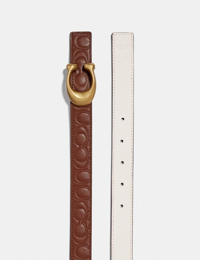Coach Sculpted Signature Reversible Belt in Signature Leather 1941 Saddle/Chalk/Brass Women Accessories Belts Alternate View 1