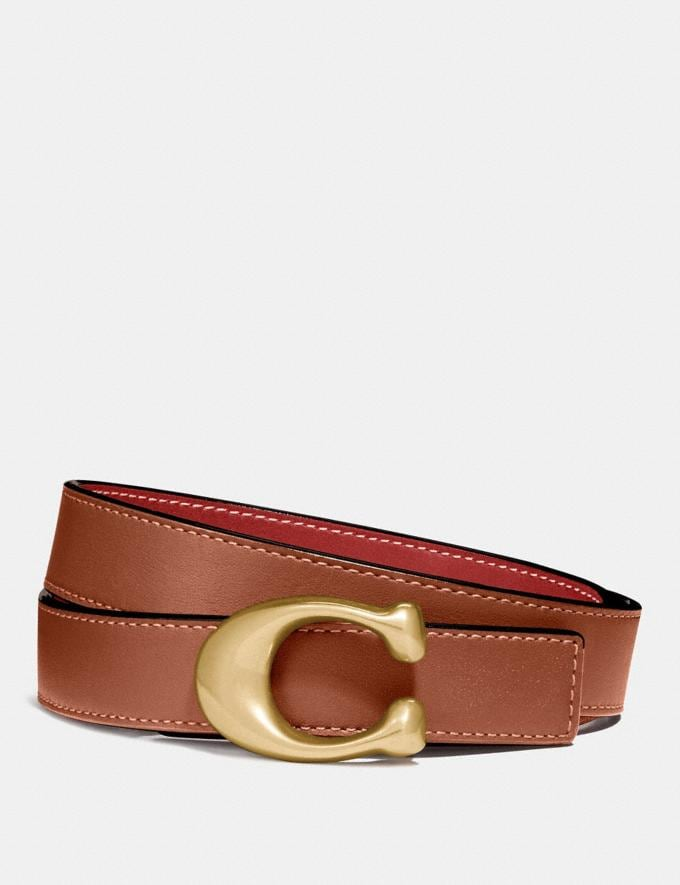 Coach Sculpted Signature Reversible Belt B4/1941 Saddle 1941 Red New Men's New Arrivals
