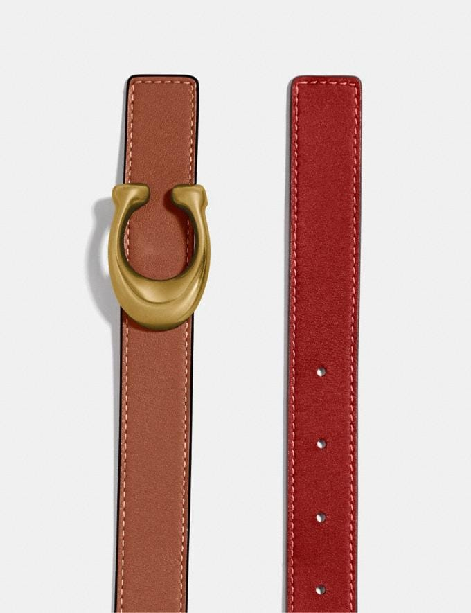 Coach Sculpted Signature Reversible Belt B4/1941 Saddle 1941 Red New Men's New Arrivals Alternate View 1