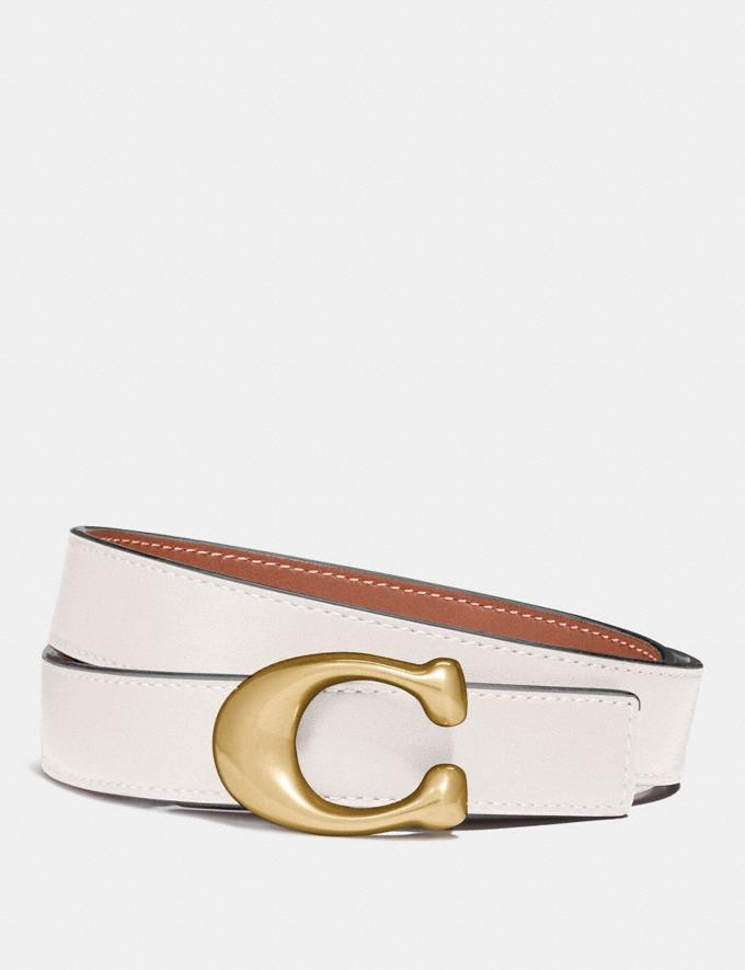 Coach Sculpted Signature Reversible Belt Chalk/1941 Saddle/Brass Men Accessories Belts