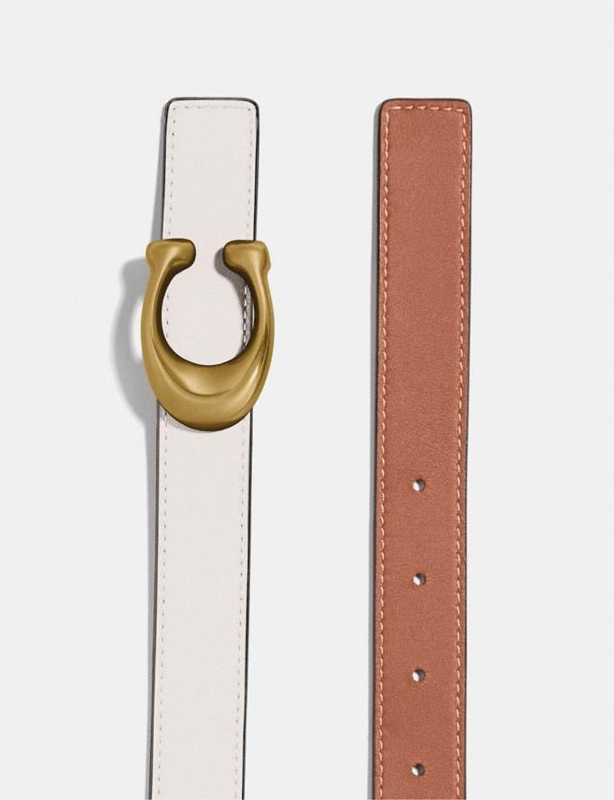 Coach Sculpted Signature Reversible Belt Chalk/1941 Saddle/Brass SALEDDD Women's Sale Accessories Alternate View 1