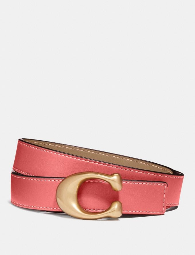Coach Sculpted Signature Reversible Belt B4/Bright Coral/Beechwood