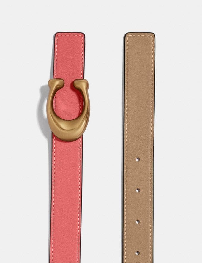 Coach Sculpted Signature Reversible Belt B4/Bright Coral/Beechwood  Alternate View 1
