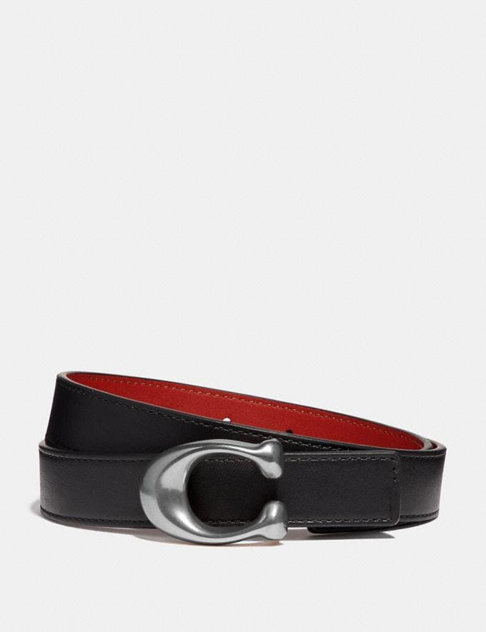 Coach Sculpted Signature Reversible Belt Black/1941 Red/Nickel Women Accessories Belts