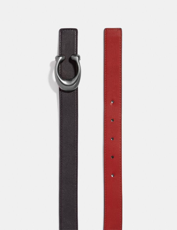 Coach Sculpted Signature Reversible Belt Black/1941 Red/Nickel Women Accessories Belts Alternate View 1