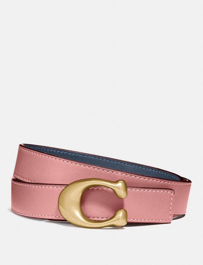 Coach Sculpted Signature Reversible Belt Ni/Denim Light Blush Men Accessories Belts